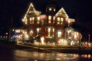 Many house in Marshall are this ornate, with elaborate Christmas lights...