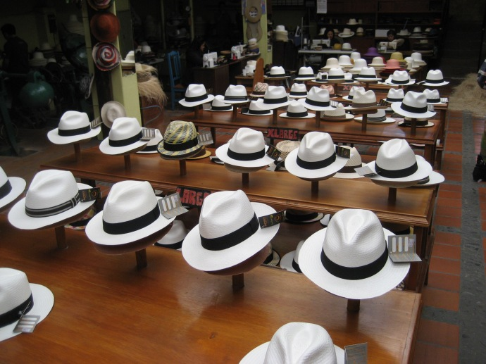 Hats for sale, arranged by size