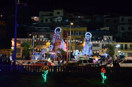 The huge nativity scene in Cuenca as seen from across the river.