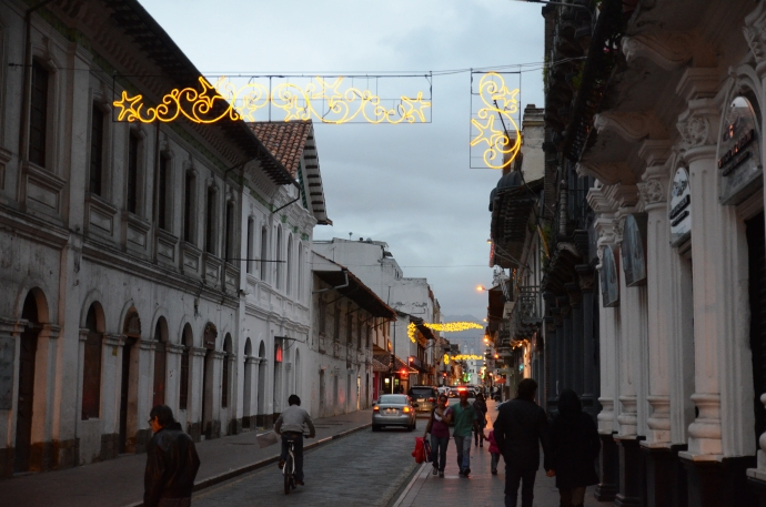 Christmas Street lights in the heart of Cuenca