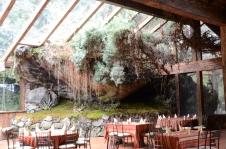The restaurant is built around a stone outcropping.