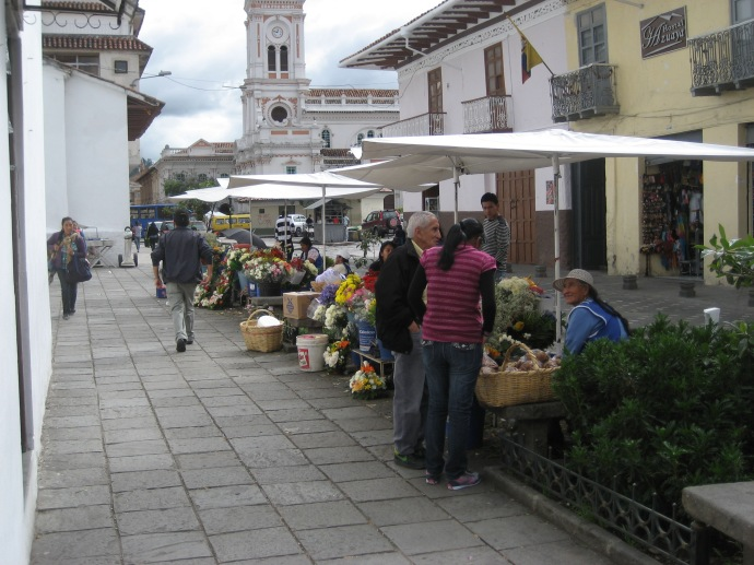Cuenca Flower Market -- The spillover onto the side street.