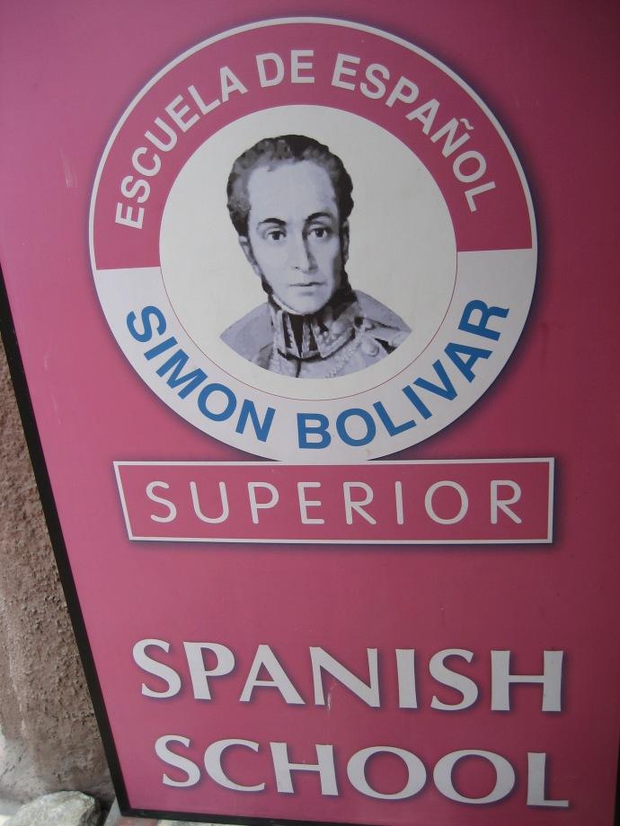 Simon Bolivar Spanish School entrance sign