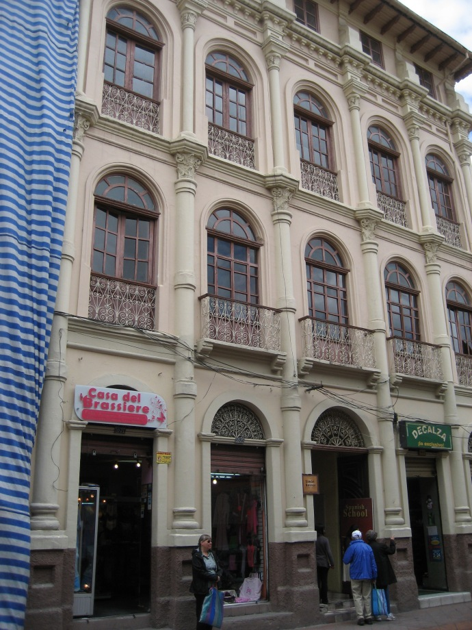 A view of the Simon Bolivar Spanish School that you won't find on their website.  The brassiere store is just a bonus, with some weird stuff on display!