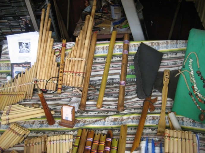 Various woodwind instruments for making Andean music.