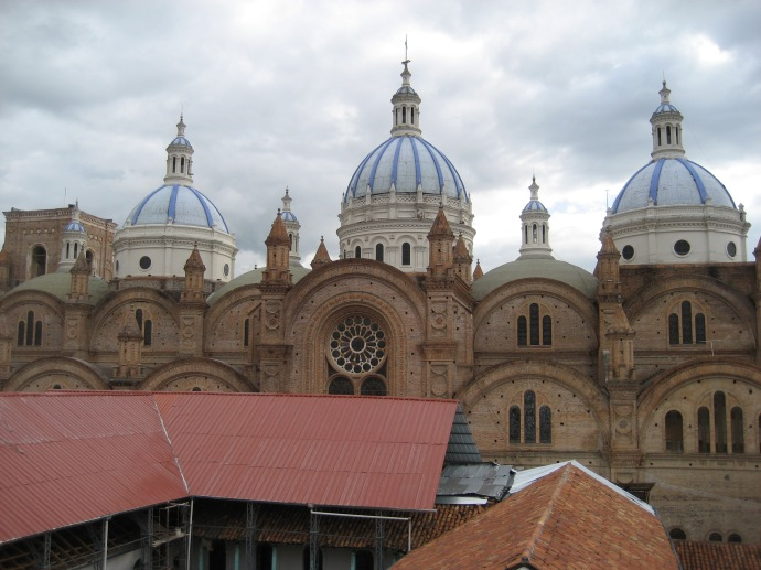 The New Cathedral, the dominant building in the main part of Cuenca, as seen from the downtown apartment