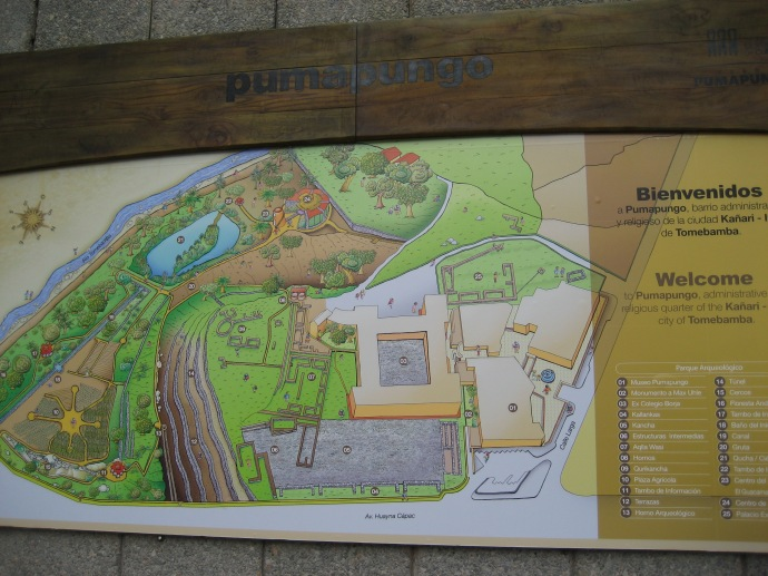 A map of the Inca ruins at Pumapungo, in the heart of Cuenca, Ecuador