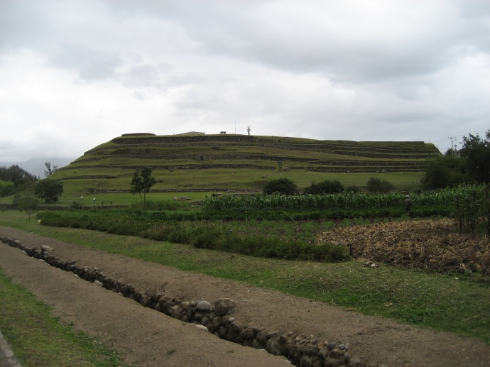 The terraces at Pumapungo, with the canal in the foreground.