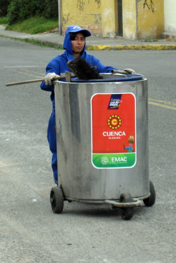 One of the many Cuenca street cleaners.  The city's streets were quite neat