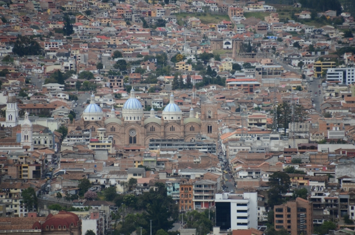 A closer view of downtown.  The three steeples close together are the ones to the New Cathedral, in the heart of the historic city center