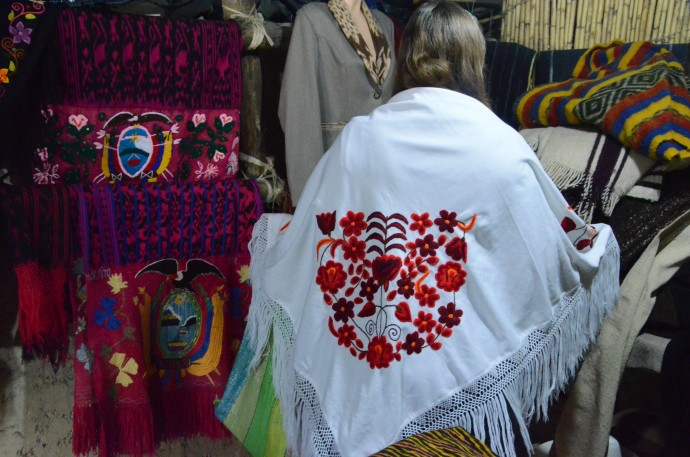 An embroidered shawl for sale at Tecnica Ikat Macana, with an asking price of $30