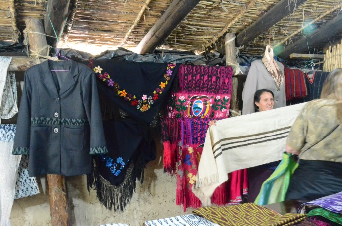 Jackets, ponchos, and table cloths for sale at Tecnica Ikat Macana