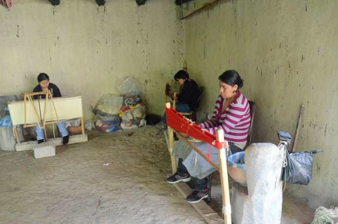 Artisans making handmade woolen objects