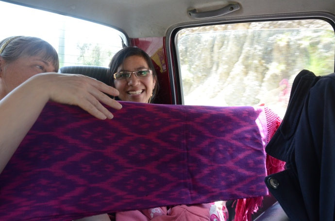 Sherri's lifestyle guide is surprised with a gift of a shawl that she had liked very much.