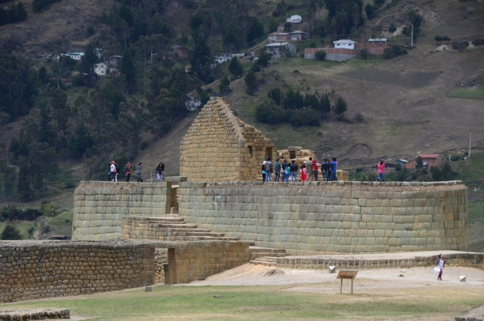 Tourists on the elliptical Temple of the Sun at Ingapirca