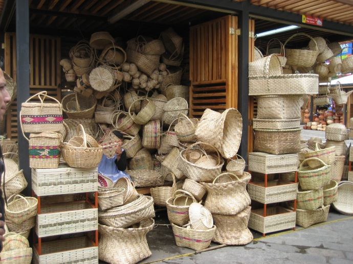 Baskets for sale by a sidewalk vendor