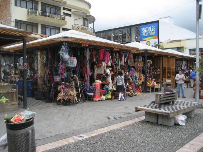 A sidewalk booth near the market