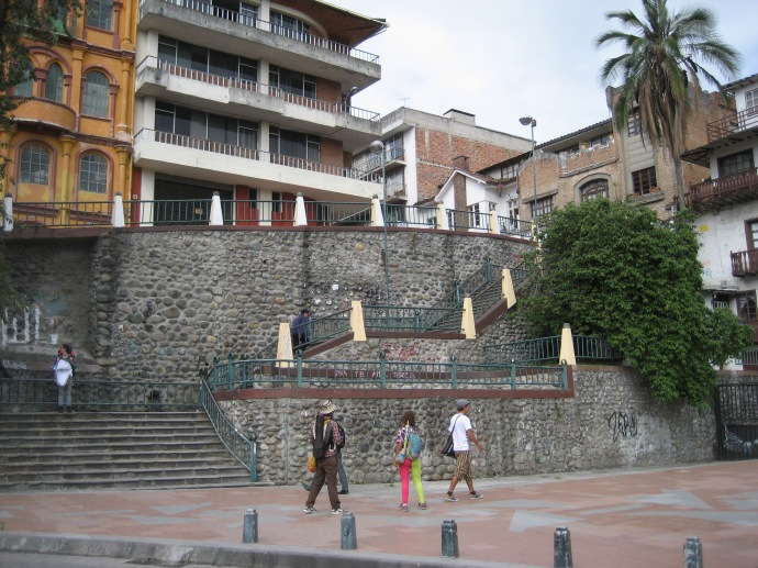The historic city center of Cuenca is on a butte or cliff.  We had to climb these 89 steps to get up to the level of the center and the school (yes, we counted them).  Much easier going down than up