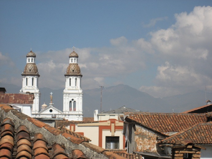 A view from our school, toward the west, of the red tile roofs and the San Sebastian church