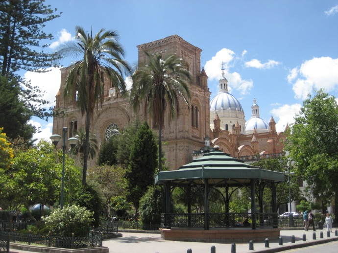 """The Catedral de la Immaculada Concepcion, also known as the """"New Cathedral"""" (although construction started in 1885) and the gazebo in the city's largest plaza, the Parque Calderon"""