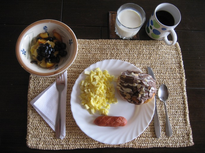The most elaborate breakfast at the apartment, toward the end of the trip