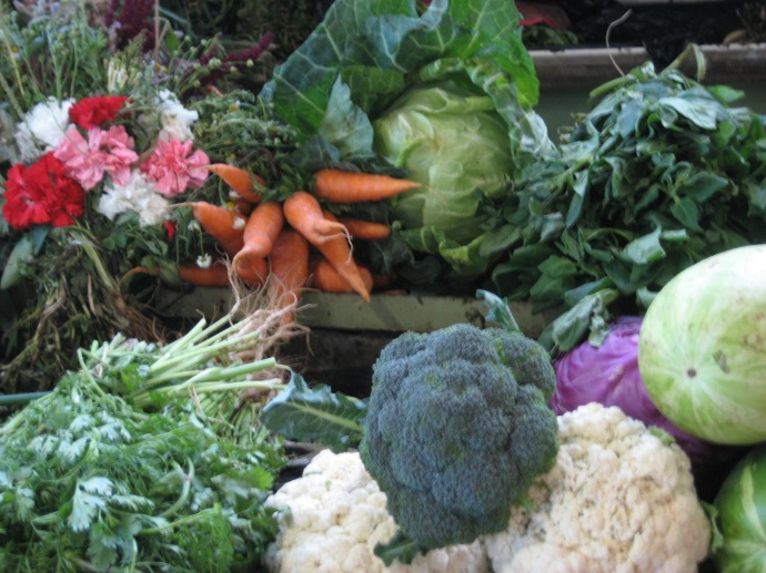 Fresh vegetables and a few flowers in the market