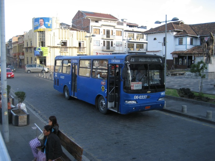 Big blue stinky Cuenca city bus