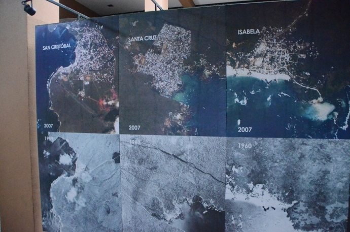 These satellite images show how the resident population has increased from the 1960's to 2007 for the three cities on the Galapagos Islands:  San Cristobal, Santa Cruz and Isabela.  Increased tourism requires increased support staff, in turn increasing the need for more people.  With more people, infrastructure needs, such as water supply, sewage treatment, and garbage removal, create increased problems for keeping Galapagos as pure of an environment as it has been in the past