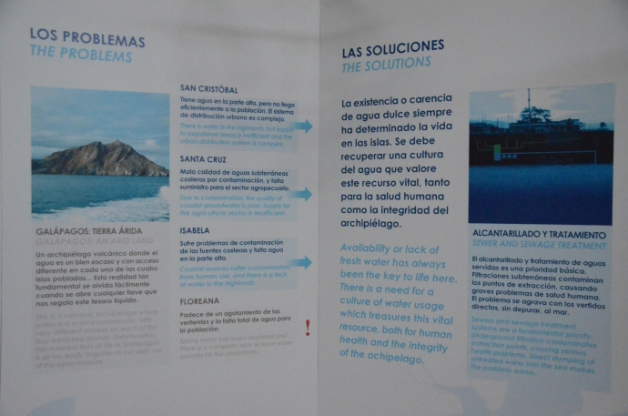 Many displays in the Interpretive Center gave illustrations of problems facing the Galapagos population with solutions that are either proposed or in place.  In this case, the problem is providing adequate fresh water