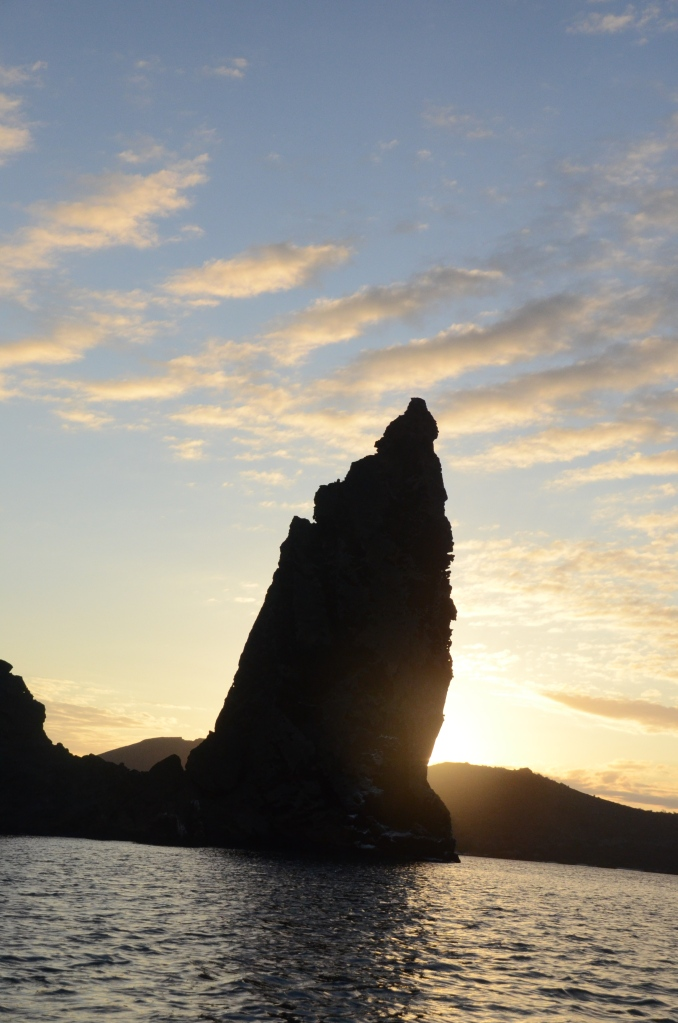 Pinnacle Rock at sunset on Bartolome Island