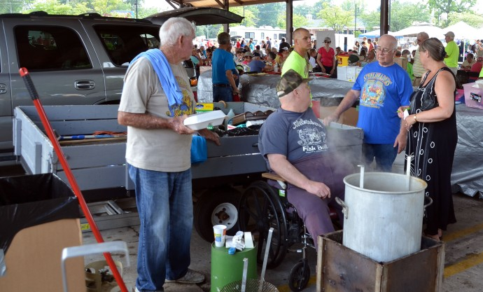 Donated fish on the first day of the tournament go into the blue trailer.
