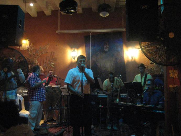 Carlos, the owner of Casa de Doroteo sings Cuban music with his band.
