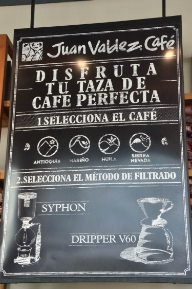The Juan Valdez cafe offers two different methods of brewing their single origin coffee, by either the siphon method or by the drip approach.