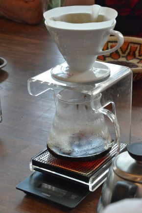 A scale built into the bottom of the drip coffee maker tells when the correct amount of product has been created.