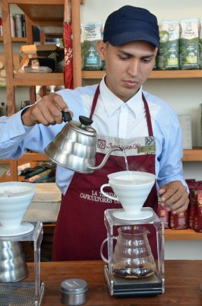Abel is preparing coffee using the drip approach.