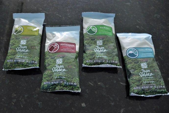 The four types of Juan Valdez single origin coffee described above.
